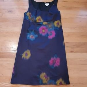 Ann Taylor Loft Floral Black A Line Dress size 10